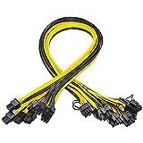 Kamenda 10 Piezas PCI-E de 6 Pines una 8 Pines (6 + 2) PCI-E (Macho una Macho) Cable de AlimentacióN GPU de 50 Cm para Tarjetas de Imagen Placa de ConexióN de Servidor de MineríA