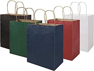 Multicolour Medium Gift Bags with Handles Bulk, 8x4.75x10 inch White/Black/Green/Blue/Red Each 20pcs, bagmad Kraft Party G...