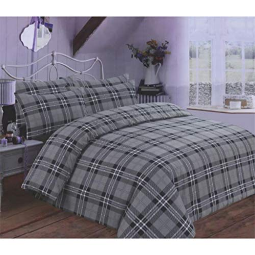 EDS 100% Brushed Cotton Tartan Check Flannel Luxury Duvet Cover Sets Super Soft with Matching Color Pillow Case - Double Grey