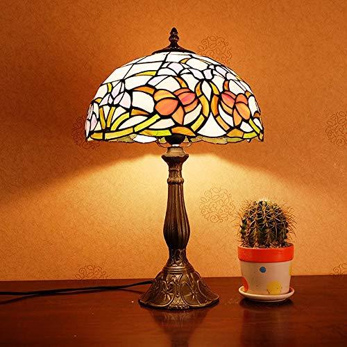 VIWIV Lámpara de escritorio estilo Tiffany lámpara de mesa rural dormitorio mesita de noche lámpara americana de estudio decoración de habitación de hotel retro luz de mesa 30 x 50 cm