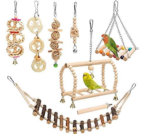 Ototon 8-teiliges Set Vogelspielzeug, zum Aufhängen, aus Naturholz, Spielzeug-Schaukelbrücke, Leitern, Wellensittich, für Parrot Kiefer Papagei