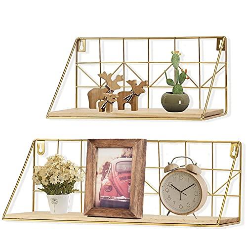 JUJOYBD Juego de 2 estantes de pared dorados modernos, estantería flotante para cocina, estantería de metal de alambre, estantería de madera para dormitorio, salón, cocina, baño, oficina