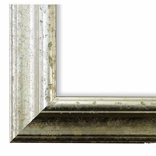 Bilderrahmen Genua Silber 4,3 - LR - 50 x 70 cm - 500 Varianten - alle Größen - handgefertigt - Galerie-Qualität - Antik, Barock, Landhaus, Shabby, Modern - Fotorahmen Urkundenrahmen Posterrahmen