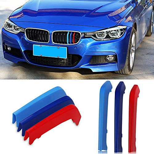VANJING Compatible with M-Colored Stripe Grille Insert Trims BMW F30 2013-2018 3 Series (8 Beams not Fit 11 Beams) Kidney Grills