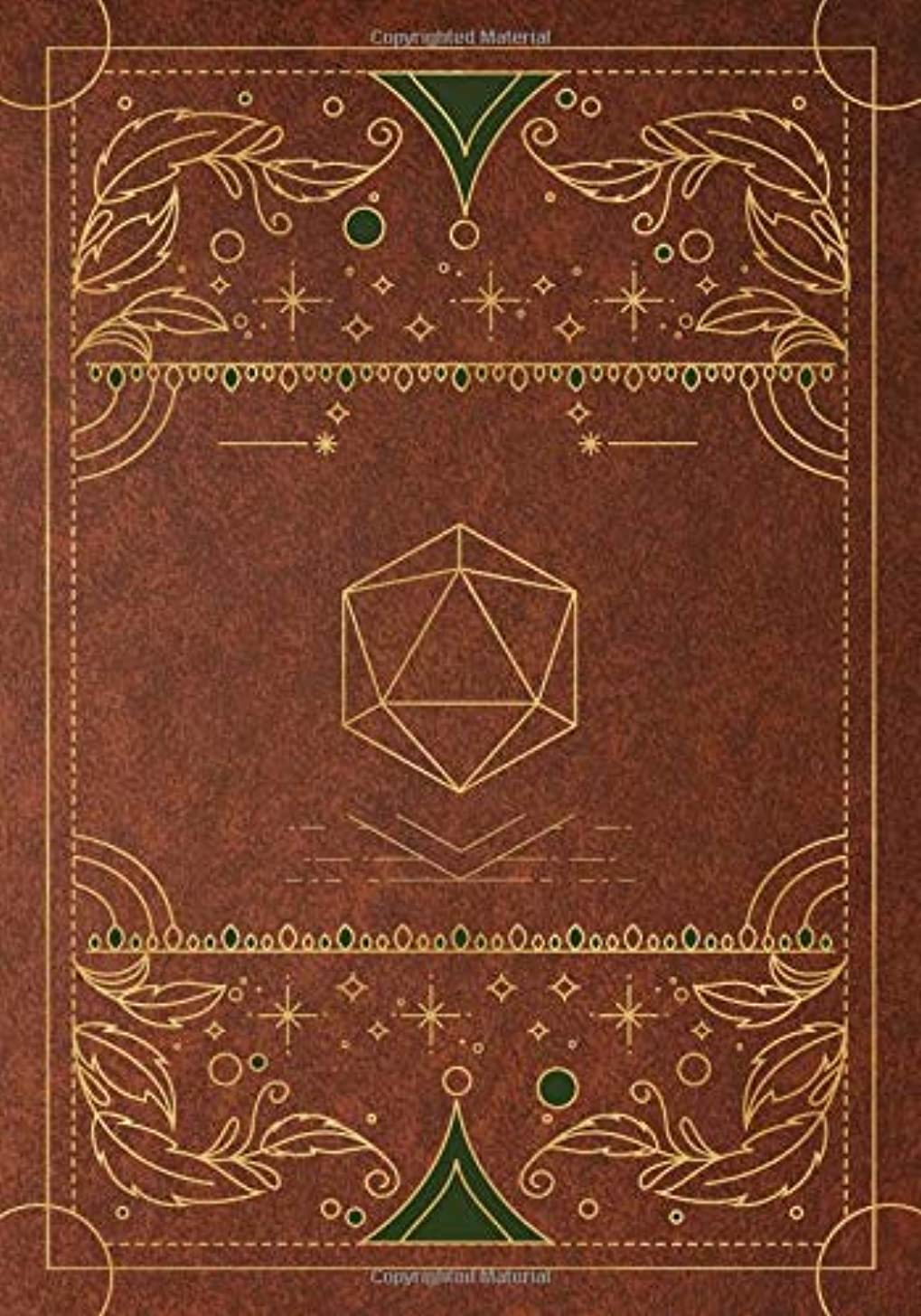 RPG journal: Mixed paper: Ruled, graph, hex: For role playing gamers: Notes, tracking, mapping, terrain plans: Vintage brown dice deco cover design