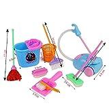 Youkara 9 PCS Multi-House Cleaning Mop Broom Tool Juego de Imaginación Toy Kit Girl Doll Accessories Cocina Fruit Simulación Ware Toy Color Random