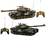 Haktoys HT502 RC 12'' Fighting Battle Tanks with LED Life Indicators, Realistic Sounds & Lights, Set of 2 Infrared Remote Control War Gaming Tanks, Safe & Durable, Great Present Toy for Kids & Adults