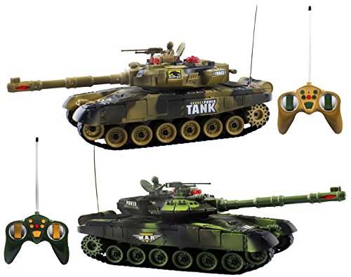 Haktoys RC 12'' Fighting Battle Tanks with LED Life Indicators, Realistic Sounds & Lights, Set of 2 Radio Control War Gaming Tanks, Great Gift Toy for Kids & Adult