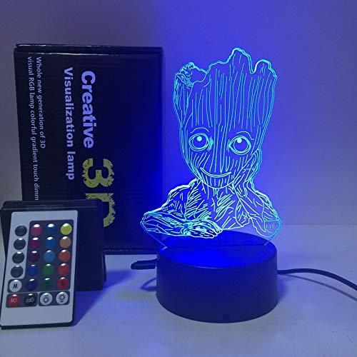 SANNELCHEL Lampada da Tavolo a LED Groot Baby 3D Bellissima, Telecomando Touch Illusion Luci notturne Lampada a Sospensione 7 Colori Mood Lampada a Batteria 3AA USB (Batteria Non Inclusa)