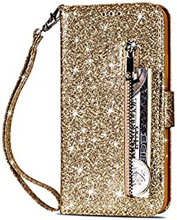 MeiLiio Wallet Case for iPhone 11 Pro Max 6.5 Zipper Case Bling Glitter PU Leather Shell Card Slots, Magnetic Flip Folio Stand Card Pockets with Wrist Strap Case Cover for iPhone XI Pro Max, Gold
