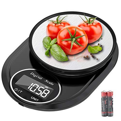 Bilancia da cucina, Hoobabuy 5kg/11lbs Smart Digital con Funzione di Tara, Bilancia Elettronica Professionale in Acciaio Inossidabile ad Alta Precisione da 1g/0,05oz per Casa e Cucina