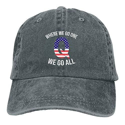 Qanon Where We Go One We Go All Adjustable Baseball Caps Denim Hats Cowboy Sport Outdoor