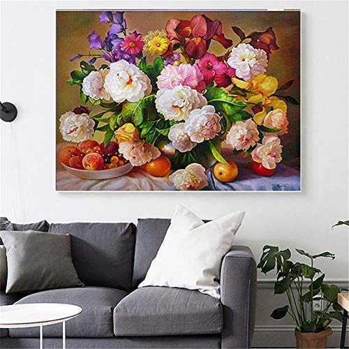 DIY 5D pintura de diamante bordado kits completo Frutas florales florales Diamond painting grande adulto/niño cristal Rhinestone lienzo art craft for home wall decor gift Square drill,70x90cm