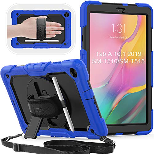 SEYMAC Galaxy Tab A 10.1 2019 Case,SM T510/T515 Case, Hybrid Rugged Shockproof Case with Built-in Screen Protector[Shoulder Strap, 360 Stand Hand Strap]for Galaxy Tab A 10.1 2019 Release (Blue/Black)