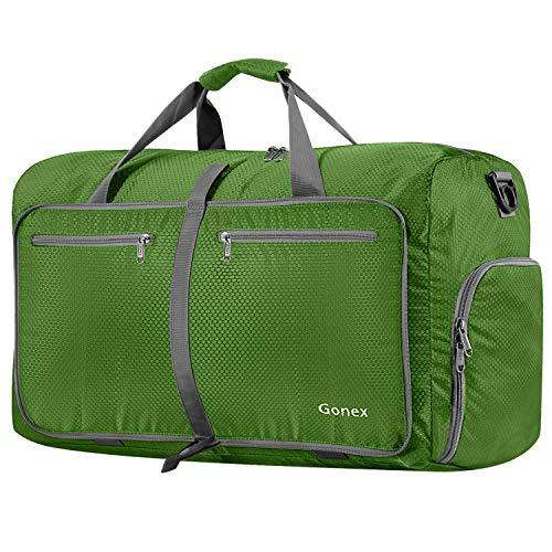 Gonex 80L Foldable Sport Duffels Travel Bag Large Sport Holdall Bag Packable Gym Bag Lightweight Waterproof Luggage (Green)