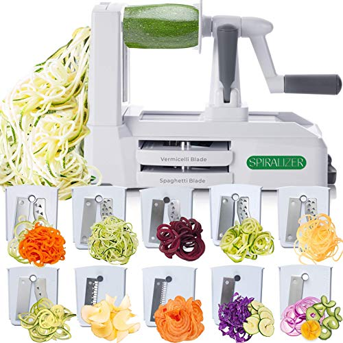 Spiralizer Ultimate 10 Strongest-and-Heaviest Duty Vegetable Slicer Best Veggie Pasta Spaghetti Maker for Keto/Paleo/Gluten-Free, With Extra Blade Caddy & 4 Recipe Ebook White