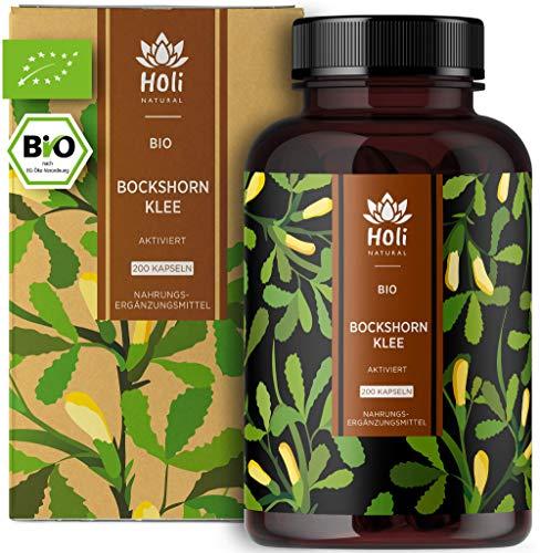 Holi Natural® Gélules activées de Fenugrec. 200 gélules véganes. 1500 mg par dose quotidienne (3 Gélules) - Poudre de graines de Fenugrec 100% naturelle et certifiée biologique. Sans additifs.