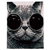 SHHSGZ Gato con Gafas de Sol Adultos y Niños Franela Mantas Impreso Manta Bedding Manta De Sofá Mantas para Cama Oficina Casa Viaje Mantas Tapiz Colgar en la Pared-M (180X150CM)