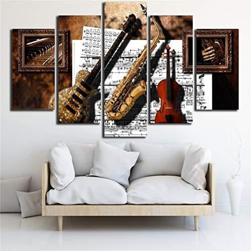 RKSZD 5 canvas schilderijen Muur Art Prints Decor 5 Stuks Muziekinstrumenten Gitaar Saxofoon Viool Muziek Score Schilderijen Modulair Canvas