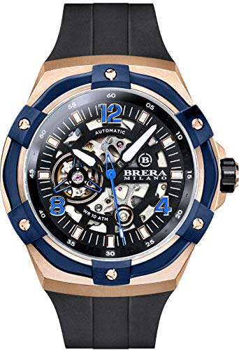 Brera Milano Reloj de hombre Superdeportivo Evo de 45 mm, con caja de acero de oro rosa, esfera negra – bisel azul, correa de goma natural negro, deployant oro rosa, cód. Bmssas4502b
