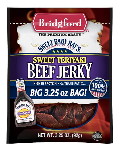 Bridgford Sweet Baby Rayx27;s High Protein Beef Jerky, Low Carb Snack, Low Calorie, Keto Friendly, Sweet Teriyaki, 3.25 oz, Pack of 4