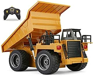 Top Race RC Remote Control Dump Truck Toy Alloy Metal 4WD with Heavy Rubber Tires, for Kids and Adults, 2.4Ghz, Construction Hobby Model with Lights & Sounds, TR-112G