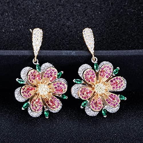 SALAN Pendiente De Gota Largo De Cristal Verde Esmeralda Y Rojo Rosa De Plata Esterlina 925 con Gran Colgante Geométrico para Mujer