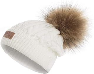Bébé bébés FOURRURE SYNTHETIQUE Pompon Chapeau gris blanc garçons filles chapeaux d/'hiver 0-12 12-24 M
