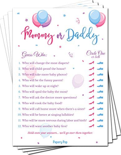Gender Reveal Games Mommy or Daddy Game Cards Pack of 50 Baby Shower Games for Boys or Girls product image