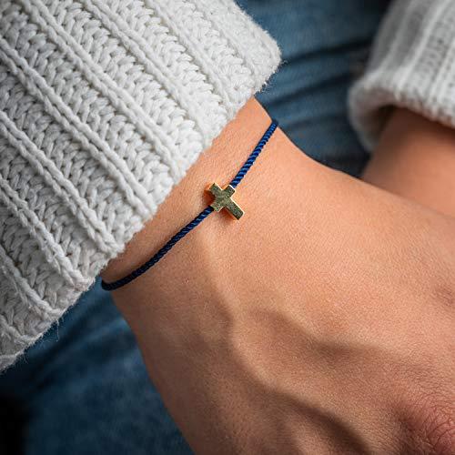 Made by Nami Filigranes Kordel-Armband mit Anhänger - Freundschaftsarmbänder Geburtstagsgeschenk beste Freundin - Größenverstellbar - Glücksbringer Armband (Blau Kreuz-Armband)