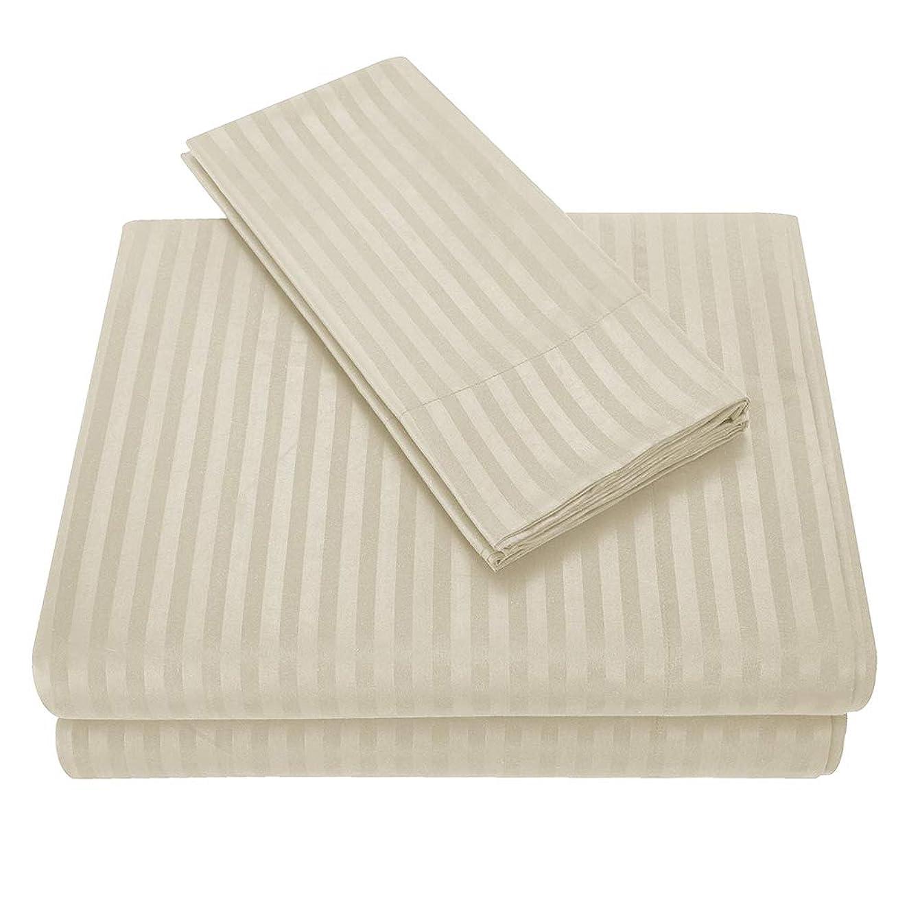 受益者センブランス制限するJK Home シンプル 寝具 セット 薄手 速乾 ボックスシーツ フラットシーツ 枕カバー ベットカバー ストライプ クリーム クイーン(4点セット)L
