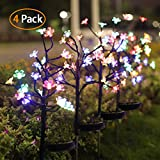 Jack & Rose Solar Garden Lights Outdoor, Beautiful 20 LED Fairy Flower Lights, Solar Powered Decoration Lights Multi-Color Changing LED Stake Lights for Walkway Patio Yard Garden Christmas