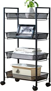 Serving Trolley Cart Mobile Storage Square Frosted Tube with Guardrail with Brake Universal Wheel, Carrying Capacity 5 Kg Per Layer, 3 Sizes (Size : 4Tier)