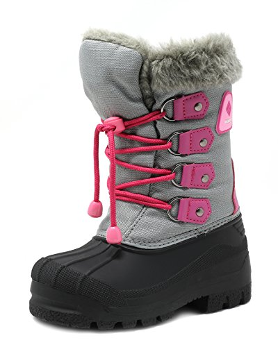 DREAM PAIRS Big Kid Forester Grey Fuchsia Ankle Winter Snow Boots Size 4 M US Big Kid