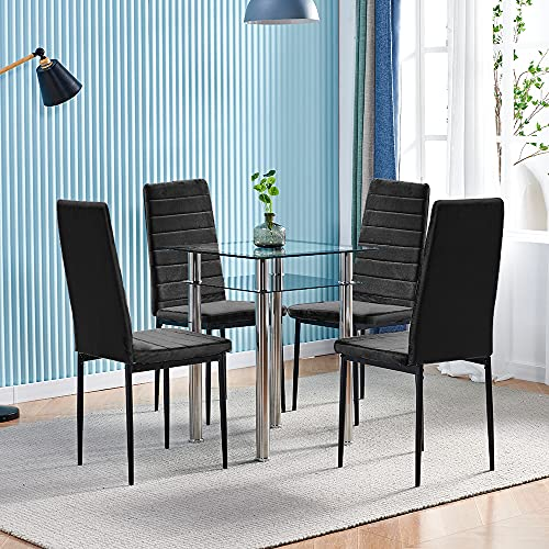 Dining Room Black Glass Table and Velvet Chairs Set of 4 Small Space, Modern 5 Piece Square Kitchen Table 60CM Tempered Glass Chrome Legs with 4 Chairs Simply Style Space-Saving