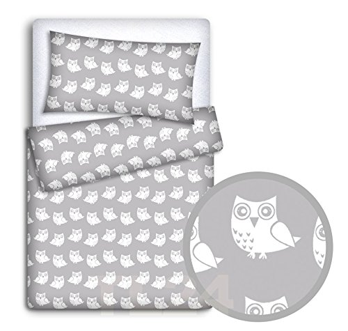 Baby Bedding Set Pillowcase + Duvet Cover 2PC to FIT Baby COT (Owls Grey)