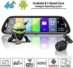 TOOGOO Android 8.1 Coche DVR GPS Navigator CáMara 10 Pulgada FHD 1080P Stream Media Espejo Retrovisor 4G GPS Espejo Dash CAM Grabadora