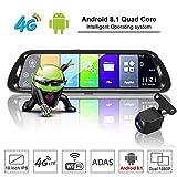 Sothat Android 8.1 Coche DVR GPS Navigator CáMara 10 Pulgada FHD 1080P Stream Media Espejo Retrovisor 4G GPS Espejo Dash CAM Grabadora