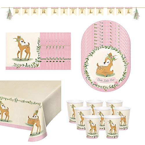 Luck and Luck Deer Little One Childrens Bumper Party Pack - Plates Napkins Cups Cover Banner, Animal Party Set, 1st Birthday Party, Bambi Deer Decorations