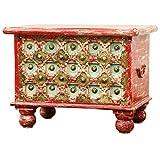 Orientalische Truhe Kiste aus Holz Anik Rot | Vintage Sitzbank mit Aufbewahrung für den Flur | Aufbewahrungsbox mit Deckel im Bad | Betttruhe als Kissenbox oder Deko im Schlafzimmer