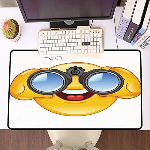 Übergroße Spiel Mauspad -Schreibtischunterlage Large Size,Emoji, Smiley-Gesicht mit einer Teleskop-Fernglas-Brille, die draußen Cartoon-Druck, Gelb und Bla,und schnelle Maussteuerung,Gummiunterseite