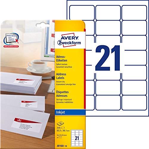 AVERY Zweckform J8160-10 Adressetiketten/ Adressaufkleber (210 Etiketten, 63,5x38,1mm auf A4, bedruckbar, selbstklebend, für DIN B6/C6 Briefkuverts, Papier matt, Inkjet-Drucker) 10 Blatt, weiß