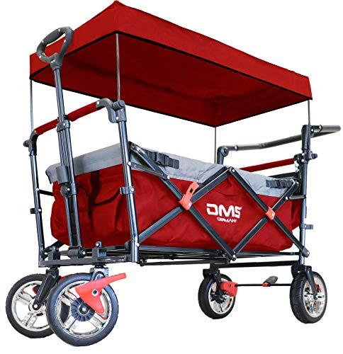 DMS Faltbarer Bollerwagen mit Dach | klappbarer Handwagen / Transportwagen | Vollgummi-Reifen | inkl. Anschallsystem für Kinder | mit Tragetasche und Bremssystemen Rot
