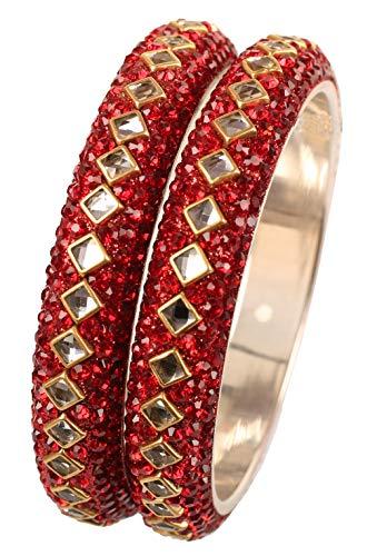 Touchstone Armreif Kollektion quadratische Form facettiert Kundan Look Lippenstift rote Perlen Designer Schmuck Metall Armreif Armbänder für Damen 2.37 Set 2 rot
