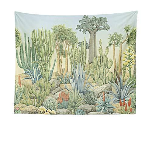 KANGDISON Groene Cactus Wandtapijt Ophangende Succulente Planten Tafelkleden Bloem Muur Ttapestry Home Decoraties voor Slaapkamer 51x60 Inches
