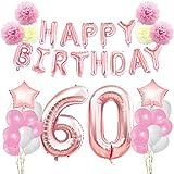 KUNGYO Rosa Oro Buon Compleanno Decorazioni Kit per 60 Anni Rose Gold Happy Birthday Bandiera Numero Gigante 60 e Stelle Palloncini Foil, Carta Pom Fiori, Forniture per Feste