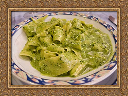 Kaveney, Wendy 24x18 Gold Ornate Framed Canvas Art Print Titled: Italy, Camogli Plate of Pasta with Pesto Sauce