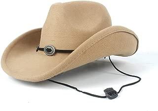 PANFU-AU Men Women Western Cowboy Hat Authentic 100% Wool Wide Brim Hat Winter Outdoor Casual Hat Size 56-58CM (Color : Khaki, Size : 56-58)