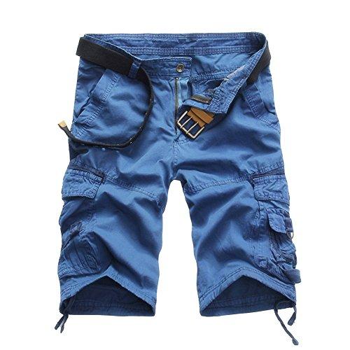 Militar Cortos de Carga Camuflaje Bermuda Cortos Pantalones Deporte Shorts Multi Bolsillos Moda Pantalones Cortos Hombre Azul 36
