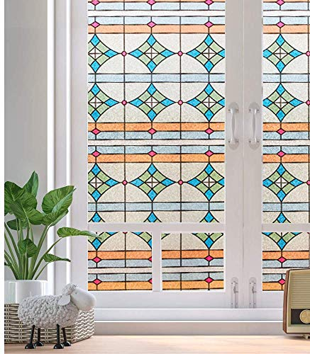 LMKJ Datenschutz Selbstklebende kleberfreie 3D statische Glasmalerei Fensteraufkleber Bad Büro Küche UV-Glasfolie A124 60x100cm